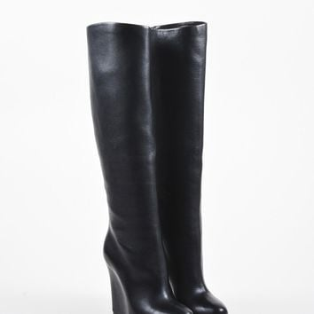 HCXX Black Christian Louboutin Leather Concealed Wedge   Zepita   Boots