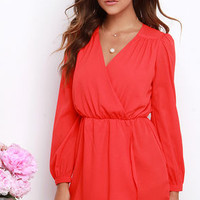 A Thing of Beauty Coral Red Long Sleeve Dress