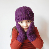 Girls Winter Skullcap and Mitten set in Eggplant, ready to ship.