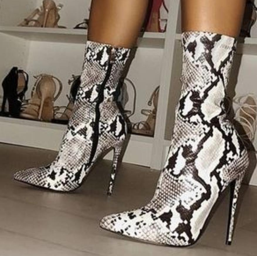 Image of Hot style sells snake print high heel lady knight boots