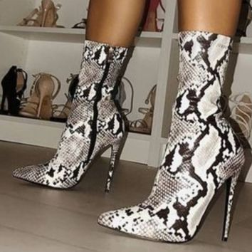 Hot style sells snake print high heel lady knight boots