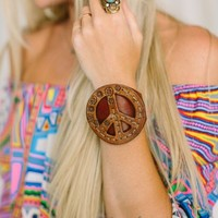 Peace Sign Bohemian Jewelry Leather Cuff