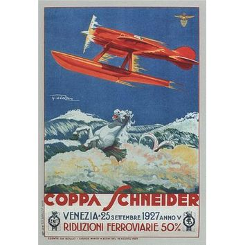 Italian Seaplanes Coppa Schneider 1927 poster Metal Sign Wall Art 8in x 12in