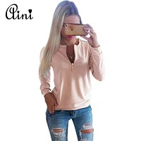 2018 New Spring Women Casual Ladies V-Neck Long Sleeve Hoodie Women Winter Jumper Pullover Tops Solid Plus Sise Sweatershirts