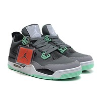 Air Jordan 4 Retro Dark Grey/Green Glow-Cement Grey-Black AJ4 Sneakers