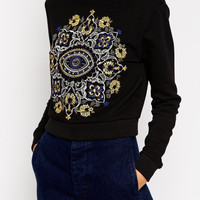 Black And Gold Silver Line Embroidered Sweater