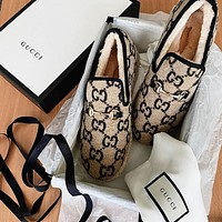 GUCCI Women's autumn and winter wool Lefu shoes