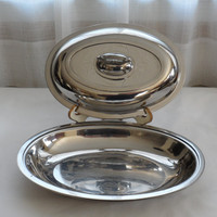 VINTAGE 1960s SW 18-8 Stainless Steel Lidded Chafing Dish/Shiny Chrome Looking Covered Serving Dish/Stainless Tableware 4 Home Entertaining