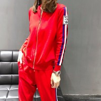 """Adidas"" Woman's Leisure Fashion  Letter  Personality Printing Zipper Spell Color Stripe Long  Sleeve Tops Trousers Two-Piece Set Casual Wear"