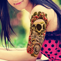 1PCS Sexy Product Skull and Flower Body Art Beauty Makeup Tattoo Waterproof Large Temporary Tattoo Stickers Fake Tatoo Transfer