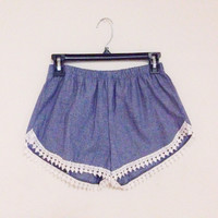 Faux Denim Crochet Boho Shorts (Small/Indie Brands)
