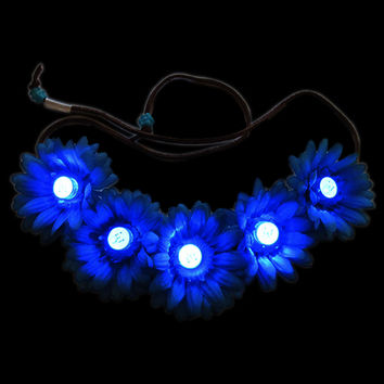 Blue LED Lights Flower Crown