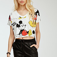 Cropped Mickey Mouse Print Tee