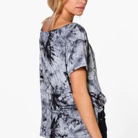Angie Tie Dye Slash Neck T-Shirt | Boohoo