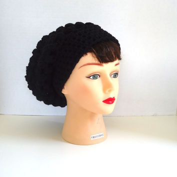 Black slouchy hat, Crochet Slouchy hat, Womens hat, Mens hat, Unisex beanie, Ready to ship
