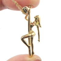 Pole Dancer Gymnastic Aerial Dance Themed Necklace in Gold | DOTOLY