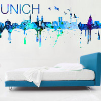 Munich Skyline Watercolor decal for housewares