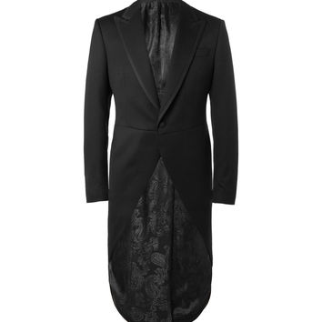 Favourbrook - Black Bedford Slim-Fit Faille-Trimmed Textured-Wool Morning Coat