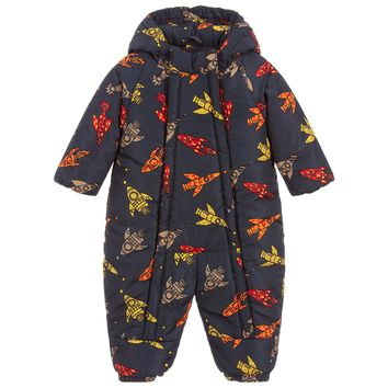 Baby Unisex Hooded Snowsuit with Rockets Print