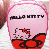 Clothes Hamper New Hello Kitty Folding Mesh Laundry Basket Dirty Clothes Toy Storage Basket It Can Be Folded To Save Space