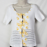 :Cute Field Flower Anthropologie Sweater M size White Yellow Lace Cotton Top