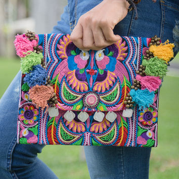 Handmade Ipad Cover Bag with Hmong Embroidered in Multi