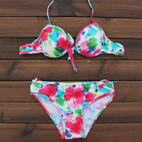 Floral Painting Push up Swimwear