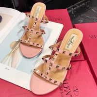 Valentino fashion casual women rivet accessories chunky heels sandals slippers