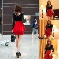 Sexy Black Lace Long Sleeve Red Clubwear Cocktail Party Mini Women Bodycon Dress