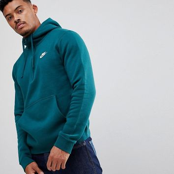 Nike Club Fleece Half-Zip Hoodie In Green 812519-375 at asos.com