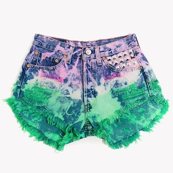 Ivy Ombre Studded Hand Dyed Vintage Shorts