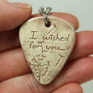 I wished for you Dandelion stamped clay Pick pendant Purple Aromatherapy pendant