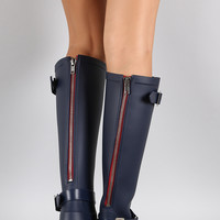 Buckle Contrast Zipper Knee High Rain Boot