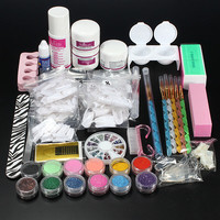 Professional Glitter Acrylic Powder Brush Tweezer Primer Nail Art Tips Set