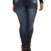 Plus Size Med Wash Denim Distressed Skinny Jeans by Charlotte Russe