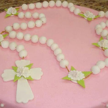 First Communion Cake Topper Rosary, Baptism Cake Topper, Baptism Favors, Baptism, Baptism Rosaries, Rosary Cake Topper, Pink Baptism Favors