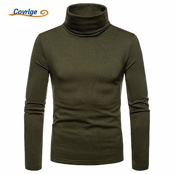 Covrlge New Autumn Tops Fashion Brand High Collar To Keep Warm T Shirts for Men Fitness T-Shirt Male Long Sleeve T Shirt MTL100