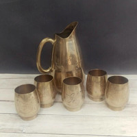 Brass Pitcher/ Brass Pitcher and tumbler set/ Brass Tumblers/ Mid Century Bar/ Boho Decor/ Brass Serving/ Serving Set/ Antique Pitcher