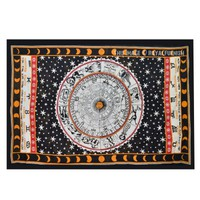 Astrology Zodiac Indian Tapestry Wall Hanging Bed Cover Home Wall Decorative Art - RoyalFurnish.com