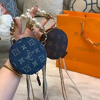 LV 2020 new canvas jacquard logo pearl chain round cake bag key bag