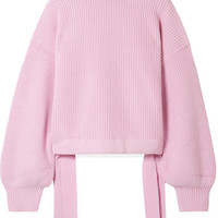 PAPER London - Candyfloss oversized tie-detailed wool turtleneck sweater