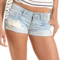 Machine Jeans Destroyed Denim Short: Charlotte Russe