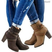 Women's Ankle Boots Chunky Heel Shoes Zip Up Round Toe Strappy Buckle Booties