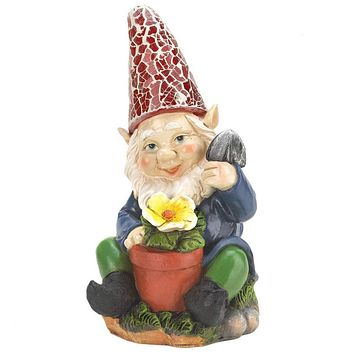 Gnome with Flower Solar Garden Statue