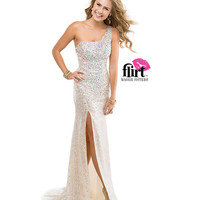 Flirt by Maggie Sottero 2014 Prom Dresses - Nude Sequin & Chiffon Asymmetrical One Shoulder Gown