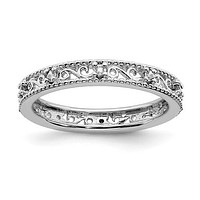 Sterling Silver Stackable Expressions April White Topaz Filigree Ring