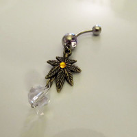 Belly Ring Antique Bronze Cannibus Marijuana Leaf with Gold Crystal and dangling Swarovski Crystal, Belly Button Navel Ring, For Her