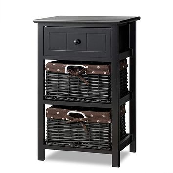Giantex Nightstand with Drawers Wooden, W/ 2 Storage Baskets and Open Shelf for Bedroom, Bedside Sofa End Table (1, Black) 1