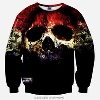 Halloween All Over Print Bloody Skull Black Crew Neck Sweatshirt