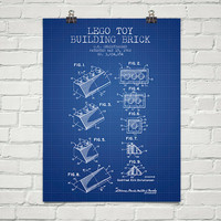 1962  Lego Toy Building Brick Patent Wall Art Poster, Home Decor, Gift Idea